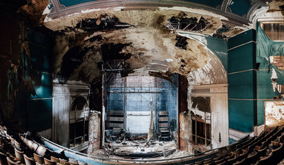 Derelict Stage - Abandoned Paramount Theatre - Youngstown, Ohio Wall mural