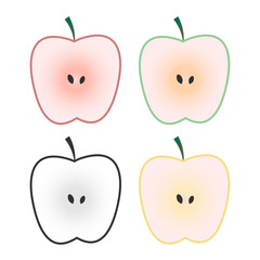 Set of apple fruits isolated on white background. Vector Illustration. Perfect for your design project.