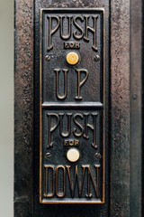 Detail of Elevator Up & Down Button - Abandoned Wick Building - Youngstown, Ohio