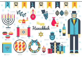Happy hanukkah day flat illustration background. Icons elements for hanukkah holiday. Vector object jewish traditional on hanukkah religion celebration. Israel greeting design