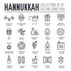 Happy hanukkah day thin line illustration background. Outline icons elements for holiday. Vector object jewish traditional on religion celebration. Israel greeting design