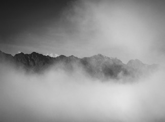 Mountains with clouds in black and white