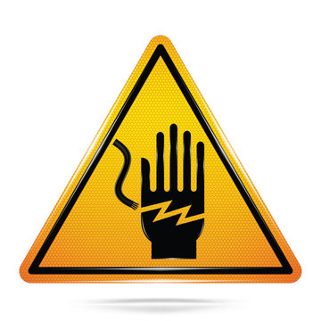Vector and illustration of graphic style,Arc Flash and Shock Hazard symbol,Yellow triangle Warning Dangerous icon on white background, Attracting attention Security First sign, for presentation,EPS10.