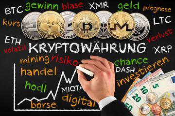 Kryptowährung digtal währung bitcoin concept Geschäftsmann hand mit kreide zeichnet kurs auf tafel finanzen krypto euro währung finanz konzept hintergrund