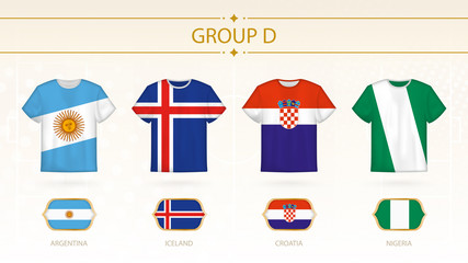 Football t-shirt with flags, teams of group D.