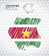 Map of Suriname with hand drawn sketch pen map inside. Vector illustration
