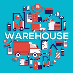 Warehouse staff puts cargoes, box, package and parcels circle concept. Business delivery service vector illustration design concept. Flat quality logistics icons