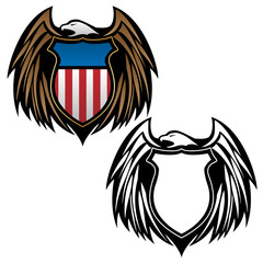 Patriotic Eagle Emblem with Shield Vector Illustration in Full Color and Black Outline