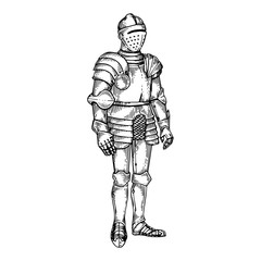 Knight armour engraving vector illustration