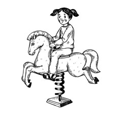 Child on rocking horse engraving vector