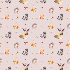 Fototapete - Watercolor seamless pattern of cute baby cartoon hedgehog, squirrel and moose animal for nursary, woodland forest illustration for children. Forest backgraund