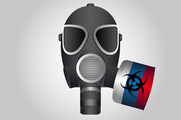 A gas mask with Russian flag. Symbol of chemical attack. Vector illustration
