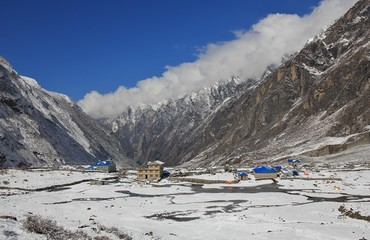 New houses and hotel in Langtang, Nepal. The old village was swept away by a immense avalanche caused by the earthquake in 2015. They started to rebuild the village a little bit higher up than before.