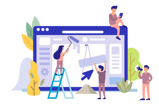 Man and girl building website