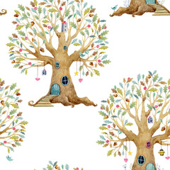 Watercolor tree house vector pattern