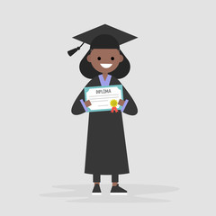 Young black female graduate wearing a black robe and holding a diploma certificate. Graduation. Flat editable vector illustration, clip art