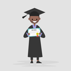 Young black graduate wearing a black robe and holding a diploma certificate. Graduation. Flat editable vector illustration, clip art