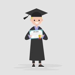 Young graduate wearing a black robe and holding a diploma certificate. Graduation. Flat editable vector illustration, clip art