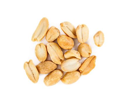 Appetizing roasted peanuts isolated on white background.