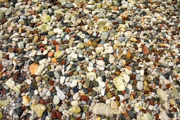 Lots of colorful pebbles from a sea shore for backgrounds