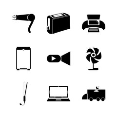 icon Electronic with housework, device, appliance, food and camera
