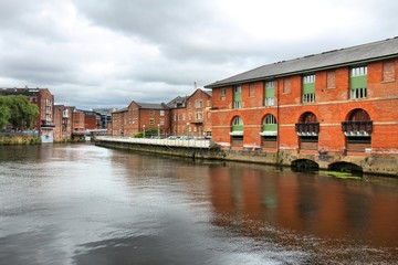 Leeds UK - The Calls, former industrial warehouse area on River Aire. Nowadays redeveloped loft area.