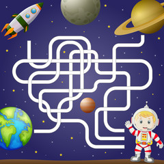 Maze game template with space and astronaut, background