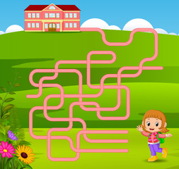 Maze game template with girl go to school