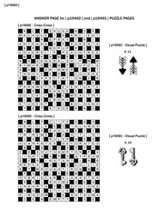 Answer page to previous two puzzle pages  with criss-cross and visual puzzles.