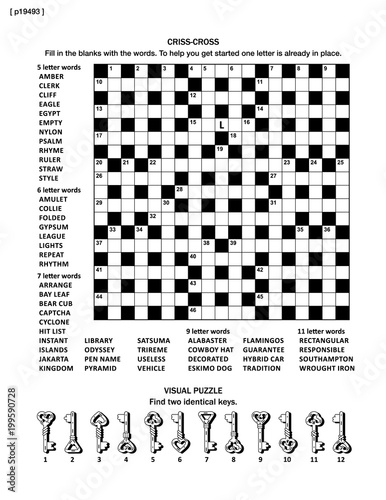 Puzzle page with two puzzles: big 19x19 criss-cross word game