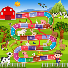 board game with farm background