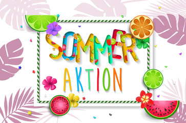 Sommeraktion. Summer design vector banner with fruits background and exotic palm leaves, hibiscus flowers.