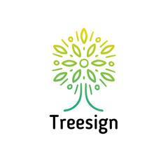 Hand-drawn tree sign, the crown resembles a flower