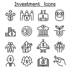 Business Investment icon set in thin line style