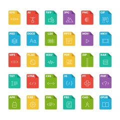 Vector flat icon set of file formats with outline icons