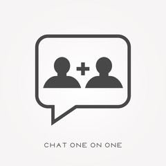 Silhouette icon chat one on one