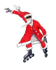 Weihnachtsmann auf Rollerskates