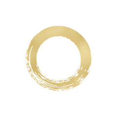 Brush stroke gold foil circle frame. Hand drawn warercolor circle on white background. Place for your text. Vector illustration