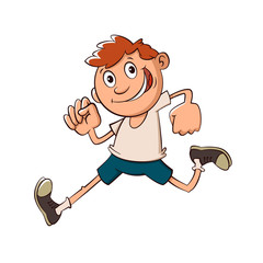 boy run cartoon