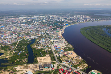 Nizhnevartovsk city in summer, aerial view