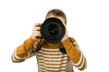Boy photographer isolate