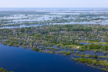 Flooding in the village, top view