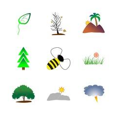 icon Nature with thunderstorm, bee, natural, leaf and hills