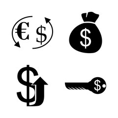 icon Currency with chart, finance, crisis, economy and banking