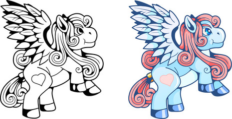 cartoon pony pegasus, cute illustration
