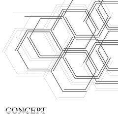 Hexagons abstract background. Geometric science and technology motion design. Digital data visualization concept. Scientific vector illustration.