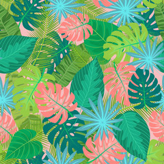 Green tropical leaves pattern for summer background or texture