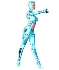 ancing robot woman. Blue metal droid with woman's face. Artificial Intelligence. Conceptual fashion art. Realistic 3D render illustration. Studio, isolate, high key.