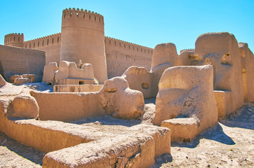 The clay ruins in ancient Rayen fortress, Iran