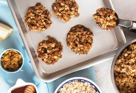Healthy homemade banana and oatmeal cookies dough before baking.
